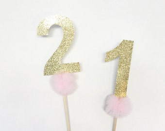 Large glitter number cake topper with or without tulle pompom