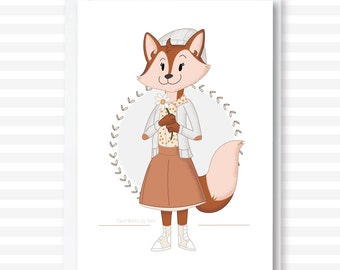 Girl Fox Card