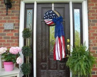 Patriotic, American Flag Wreath