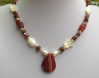 Hand Crafted Brown and Cream Beaded Necklace