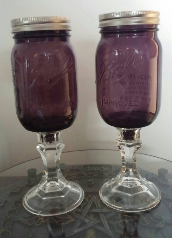 Unique Purple Ball Jar Red Neck Wine Glass Pair