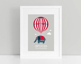 fine-art print OPTIMISM hot air balloon elephant