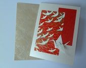 Handmade crane migration card (origami, Japanese paper)