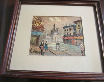 Vintage Used Estate V. Burnett Small Parisian Painting - Signed And Framed