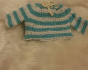 Blue and White Crocheted Sweater