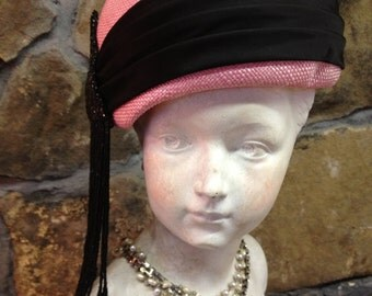 Vintage Ladies Hat - Pink with Black Beaded Trim