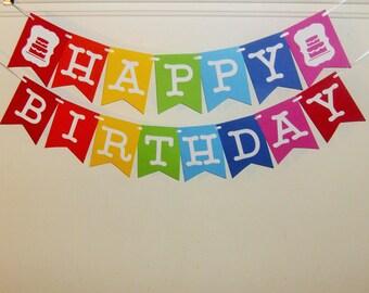 Happy Birthday  Banner, Rainbow Happy Birthday Banner, Birthday Banner, Birthday Greetings, Rainbow Birthday Decoration