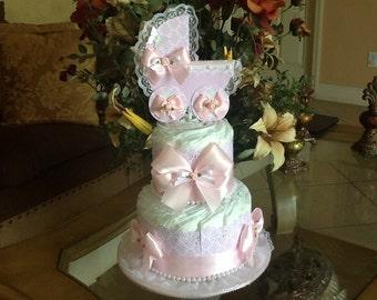 Shabby chic diaper cake Baby Girl diaper cake Carriage diaper cake Elegant baby shower Gift/ Centerpiece