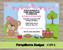 384 DIY - Teddy Bears Picnic Party Invitation Card.