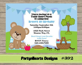392 DIY - Teddy Bears Picnic Boy Party Invitation Card.
