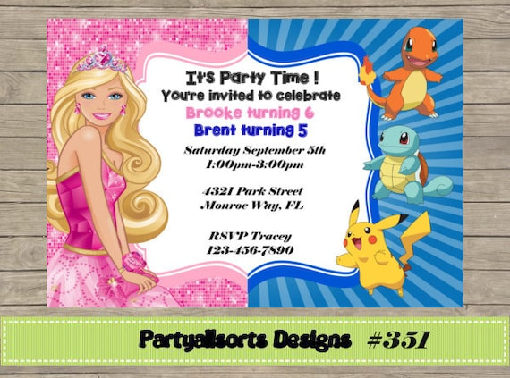 diy barbie and pokemon party by partyallsortsdesigns on etsy, Party invitations