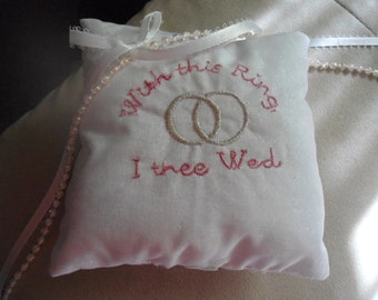 ring bearer pillow with this ring i thee wed smaller size 4x4 inches white - With This Ring I Thee Wed