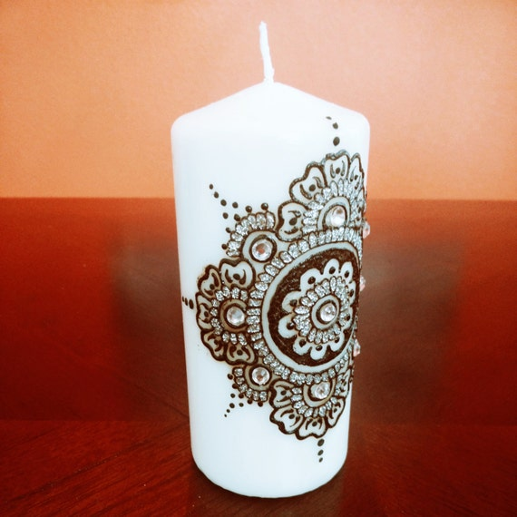 Decorative Mehndi Candles : Items similar to handcrafted henna glitter black white