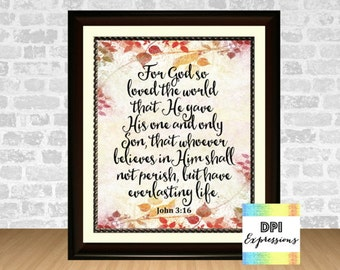 John 3:16 For God So Loved The World, Bible Verse Art Print, Scripture Art, Printable Poster, Christian Wall Decor, INSTANT DOWNLOAD