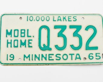 License Plate 1965 - Mobile Home Minnesota - MN 10,000 Lakes - Man Cave / Garage Display - Transportation Collectible - Trailer Plate