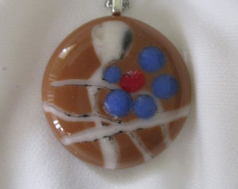 077--Round Fused Glass Necklace