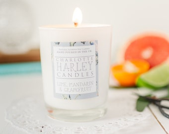 Lime, Mandarin and Grapefruit Scented Soy Wax Hand Made Aromatherapy Candle, Luxury Candle, Summer Candle