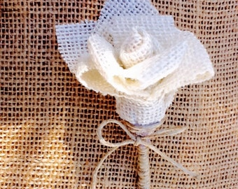 Burlap Rosette Boutonniere/rose boutonierre/button hole/wedding boutonierre/stick pin