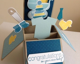 Handmade New Baby Boy Card in a box