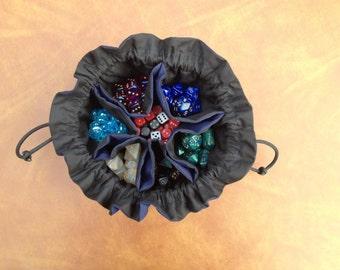 Dice Bag - Original Bag of Many Dice - 6 pocket dice bag - Black and Navy Blue - Ready to Ship