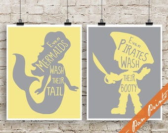 Even Mermaids Wash Their Tail, Even Pirates Wash Their Booty (B) - Peter Pan Art Print (Unframed) (featured Lemon and Gray)