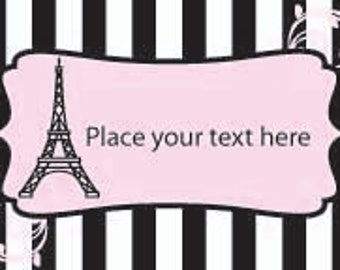 Paris Themed Party Favor Tags, Baby Shower Tags, Bridal Shower Tags, Birthday Party Tags, Quinceanera Tags, Anniversary Party Tags, Pink Tag