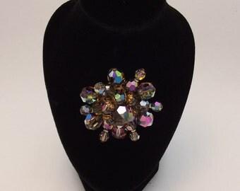 Vintage Iridescent Bead Brooch