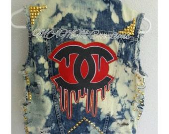 Custom denim vest, women's jean jacket, women's jean vest, designer vest, designer inspired
