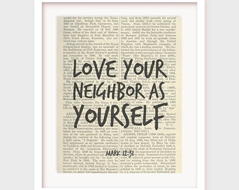 Instant Download Bible Verse, Love Your Neighbor As Yourself, Mark 12:31, Church Art Decor, Printable Bible Quote