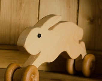 Wheeled wooden hare