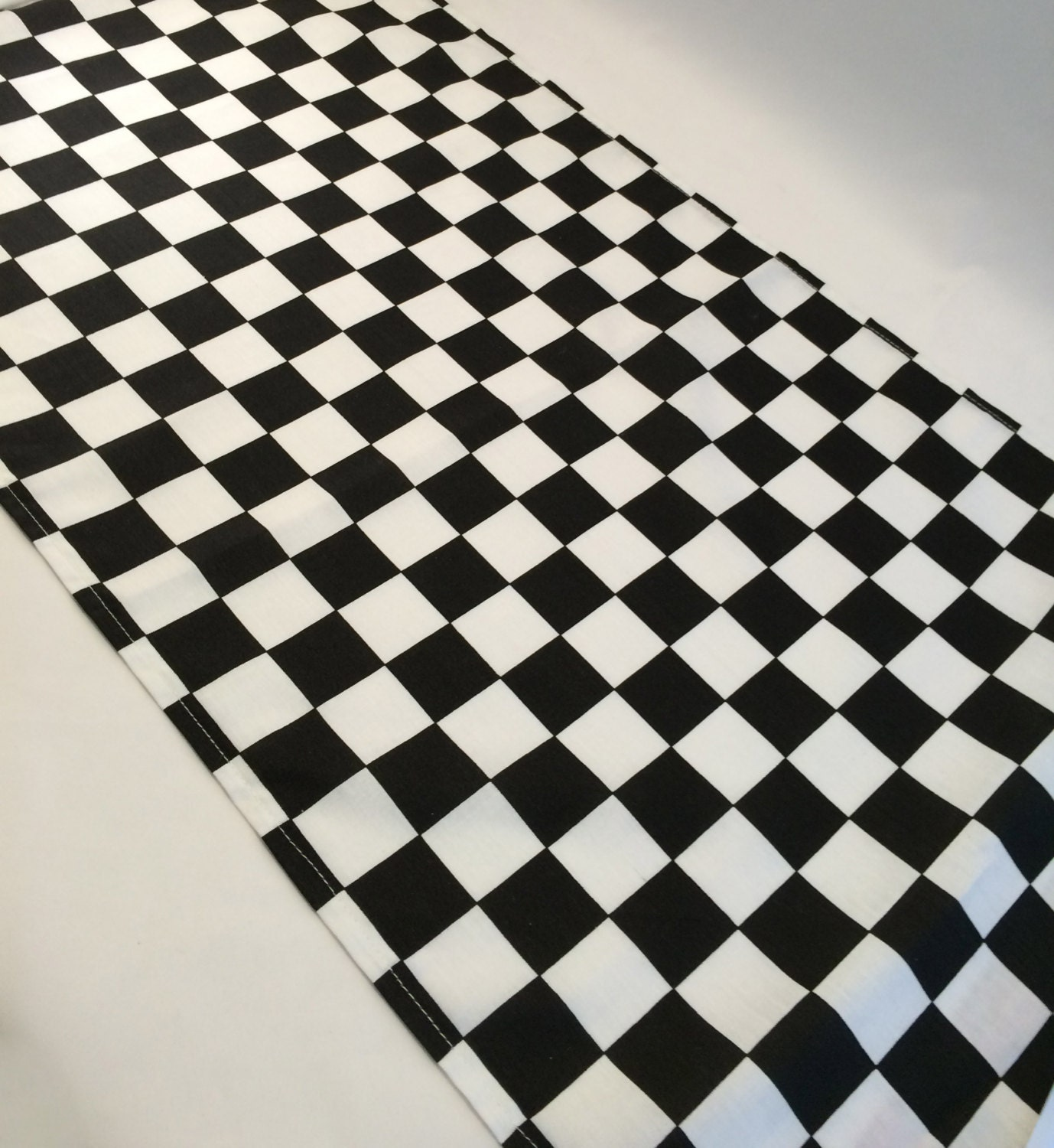 Black And White Check Table Runner Or Accent Table Mat: Ideal