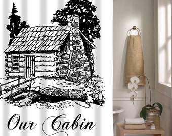 Shower Curtain For Cabin, Our Cabin Home Decor, Cute Shower Curtain For Vacation Home
