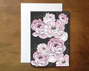 Illustrated peonies greeting card