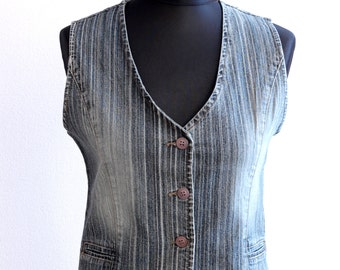 Vintage Women's Denim Waistcoat Gipsy Classic Country Style Jeans  Vest Medium Size