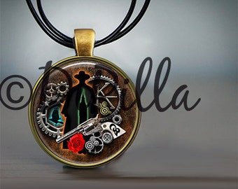 Dark Tower Gunslinger Steampunk Themed Photo Art Pendant with leather Cord