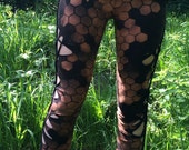 Made to order hexagon leggings with geometric side weaves