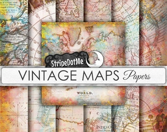 Vintage Maps Digital Paper 12 Designs Europe, Asia, Africa, America, Old World, Maps Bright - Instant Download - Commercial Use 00017