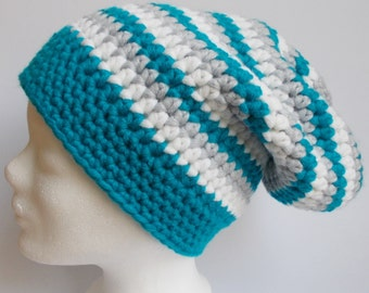 crochet hat, wooly hat, beanie, turquoise + lightgray + white