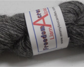 Handspun 100% Alpaca Yarn Single Ply Frosted Gray 4.75 oz 125 Yd Princess