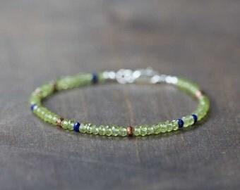 Peridot Bracelet with Lapis Lazuli & Pyrite, Stacking Gemstone Bracelet, Peridot Jewelry, Delicate Green Gemstone Stackable Bracelet
