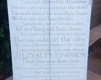 Personalized song lyric sign. Wedding song custom sign