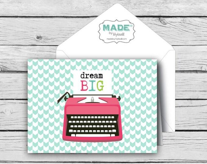 DIGITAL DREAM BIG Typewriter Motivational Card Set, Positive Cards, Digital Cards, Stationery, diy printable