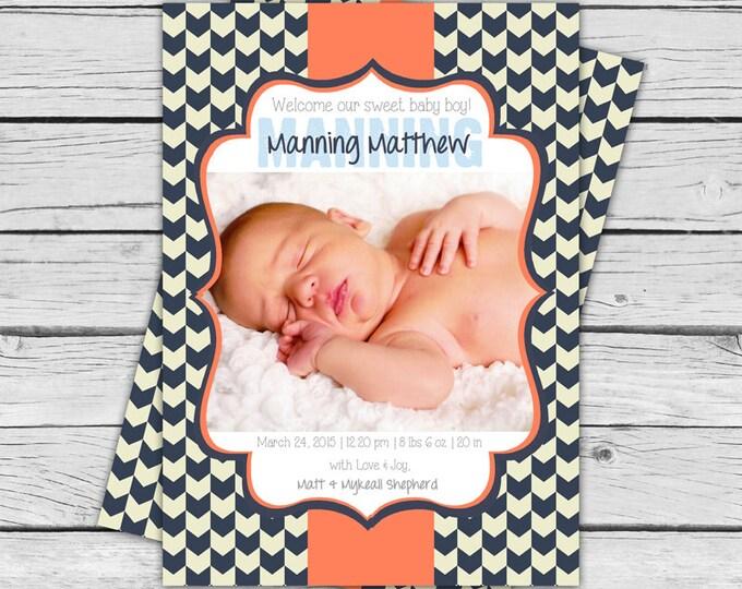 BABY ANNOUNCEMENT - Navy Blue Herringbone Personalized Baby Announcement, Welcome Home Baby, Newborn