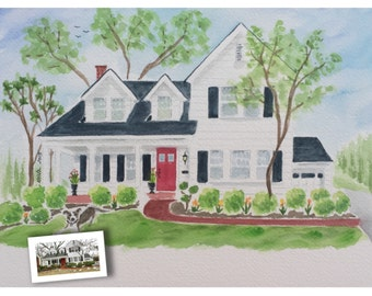 Custom house portrait, First anniversary, Home portrait, Watercolor painting, Painting of home, Wedding gift, Paper Anniversary gift