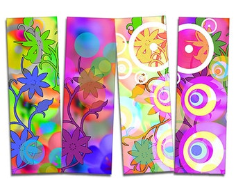 Bookmarks Bright flowers printable, Digital Collage Sheet, Download and Print Jpeg Images 1.7x5 inch