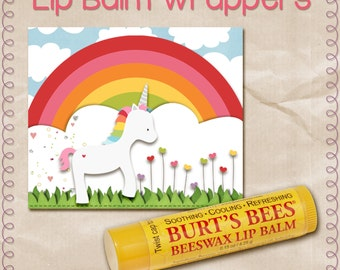Magical Rainbow Unicorn Lip Balm Wrapper, Label, Chapstick, digital, instant download