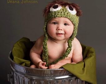 """Sesame Street Inspired """"Oscar the Grouch"""" Crochet Hat"""