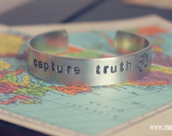 Capture Truth {hand stamped thin cuff bracelet}