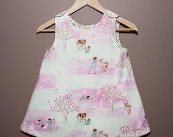 Reversible Girls Dress- Cherry Blossom