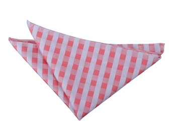 Gingham Check Coral Handkerchief / Pocket Square